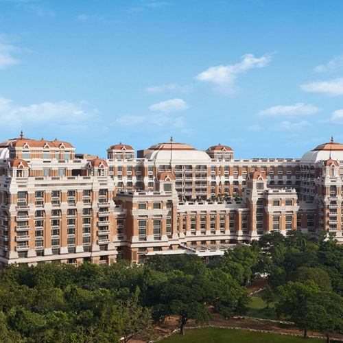 Outside view of the ITC Grand Chola and gardens