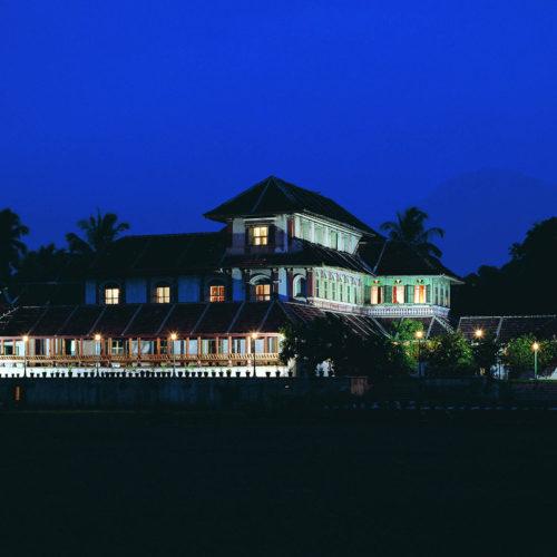 Kalari Kovilakom hotel lit up at night