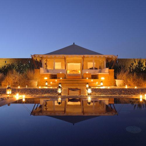The Serai Pool at night