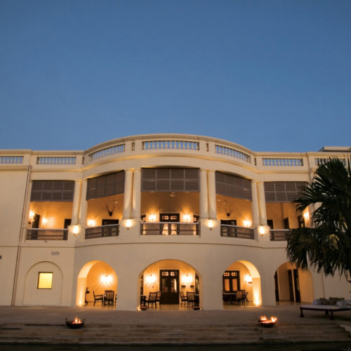 A view of the Taj Nadesar Palace from the outside